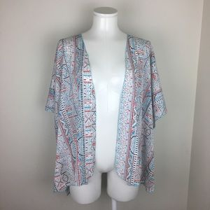 Band Of Gypsies Tribal Aztec Print Flowy Kimono